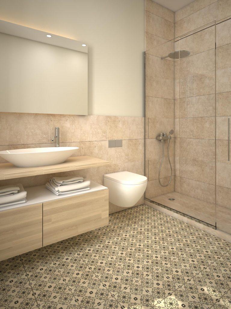 Render 3D baño en Diputació