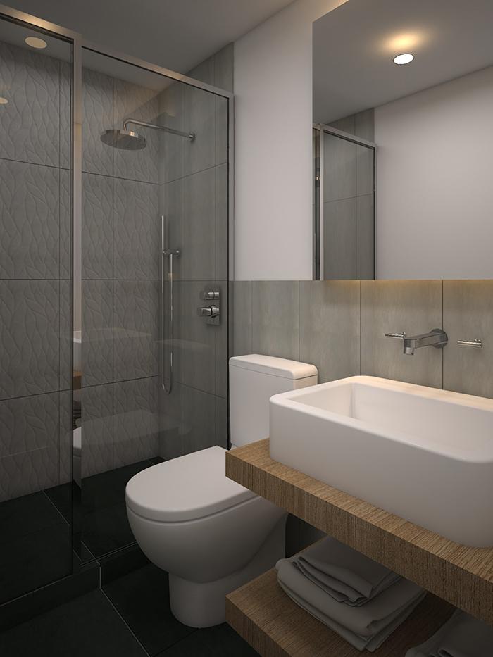 Proyecto 3D de reforma de baño en Diputació