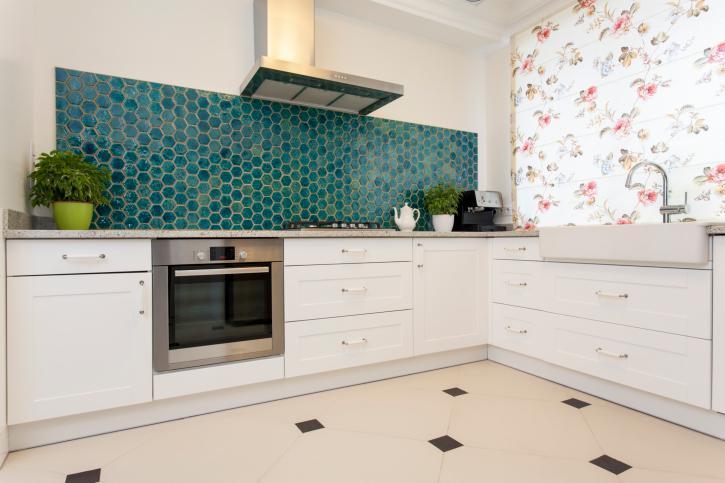 azulejos turquesa cocina