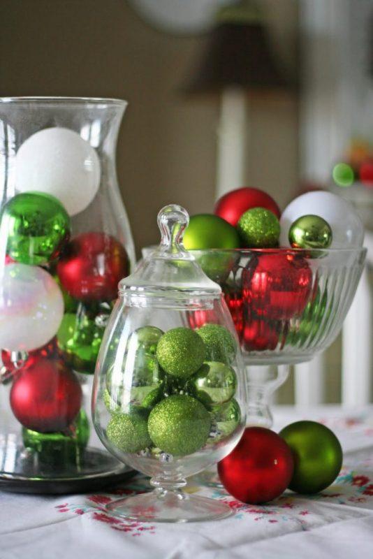 centro de mesa bolas navidad